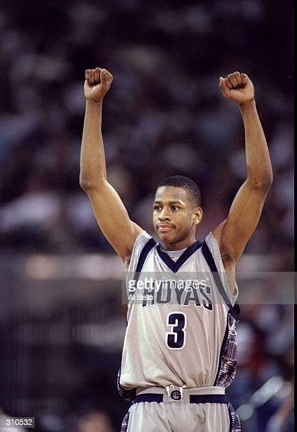 Guard Allen Iverson of the Georgetown Hoyas celebrates during a game against the Texas Tech Red Raiders Georgetown won the game 9890 Mandatory Credit...