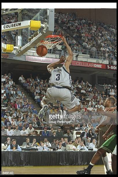 Guard Allen Iverson of the Georgetown Hoyas sinks the ball during a game against the Mississippi Valley State Delta Devils at the Richmond Coliseum...