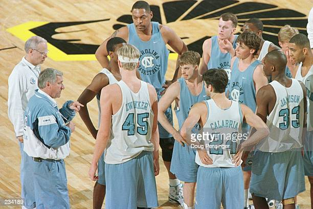 Head coach Dean Smith left and assistant coach Bill Guthridge far left conduct practice with his Tar Heels at the Richmond Coliseum as they prepare...