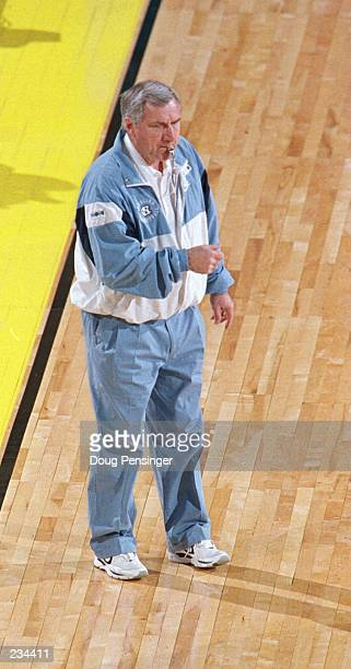 Head coach Dean Smith of North Carolina conducts practice with his Tar Heels at the Richmond Coliseum Smith has delivered the Tar Heels to the NCAA...