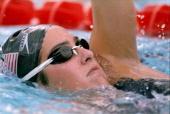 Janet Evans swims during a race at the US Swim Trials Mandatory Credit Shaun Botterill /Allsport