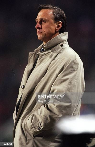 Portrait of Barcelona Manager Johan Cruyff during the UEFA Cup match against PSV Eindhoven at the Philips Stadion in Eindhoven Holland Barcelona won...
