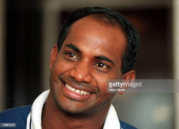 Portrait of Sanath Jayasuriya taken during the World Cup SemiFinal between India and Sri Lanka in Calcutta India Mandatory Credit Mike Hewitt/ALLSPORT