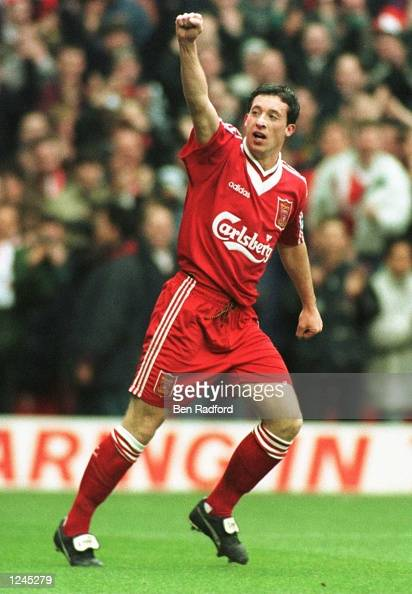 Robbie Fowler of Liverpool celebrates scoring the third goal against Aston Villa during the Premiership game at Anfield today Mandatory Credit Ben...