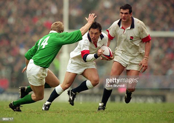 Rory Underwood of England charges forward during the Five Nations Championship match against Ireland played at Twickenham in London England won the...