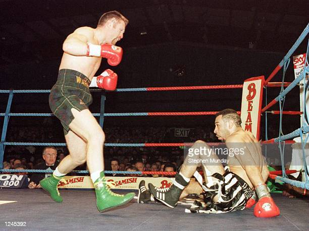 Steve Collins of Ireland in action against Neville Brown during their WBO Super Middleweight fight at Millstreet Ireland Mandatory Credit Stephen...