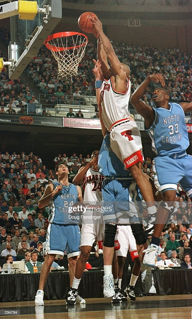 With this dunk Darvin Ham of Texas Tech ties the score 1616 and halts the game at 1206 in the first half against North Carolina when he shattered the...