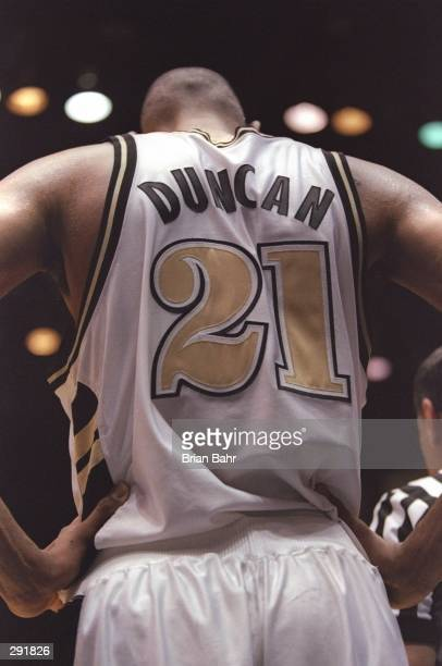 Center Tim Duncan of the Wake Forest Demon Deacons hold his head down a playoff game against the Stanford Cardinals at the McKale Center in Tuscon...