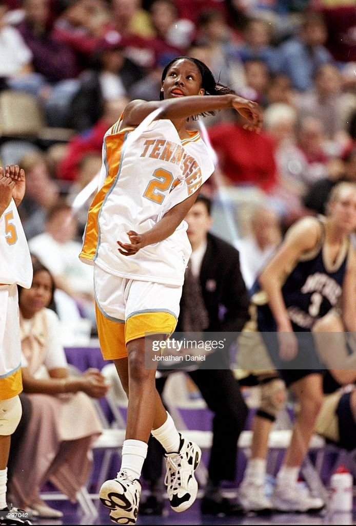 Chamique Holdsclaw of the Tennessee Volunteers celebrates after a playoff game against the Notre Dame Fighting Irish at Riverfront Coliseum in Cincinnati, Ohio. Tennessee won the game 80-66. Mandatory Credit: Jonathan Daniel /Allsport