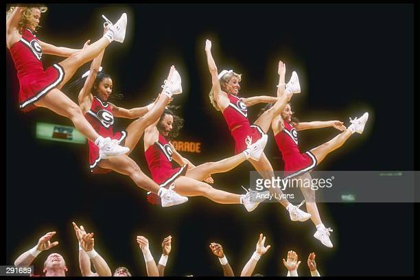 Cheerleaders for the Georgia Bulldogs do a routine during a playoff game against the Lousiana State Tigers at the Pyramid in Memphis Tennessee...