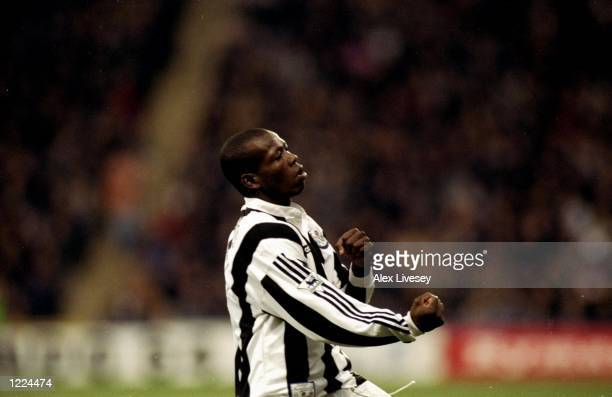 Faustino Asprilla of Newcastle United makes fists during an FA Carling Premiership match against Wimbledon at Selhurst Park in London The match ended...