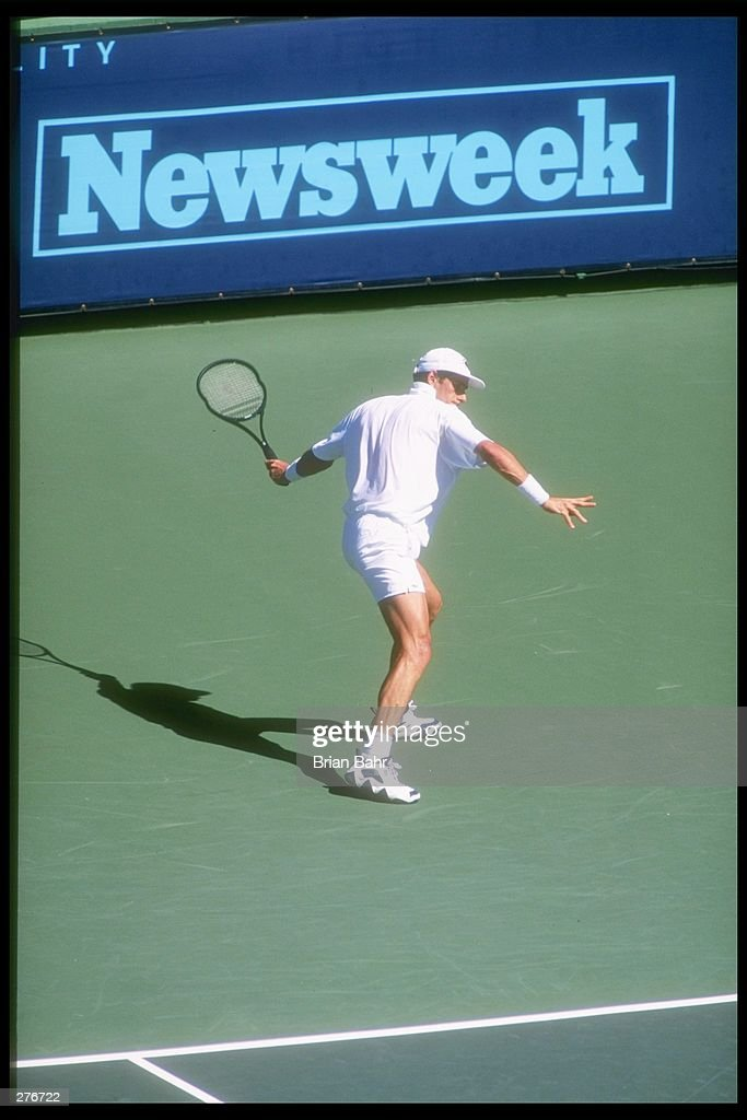Guy Forget of France performs during the Newsweek Cup in Indian Wells California Mandatory Credit Brian Bahr /Allsport