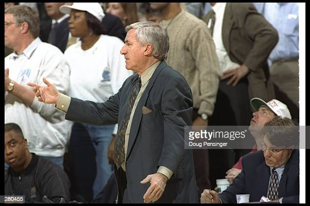 Head Coach Dean Smith of the University of North Carolina looks on from the sideline during the Tarheels 8673 win over Wake Forest at Greensboro...