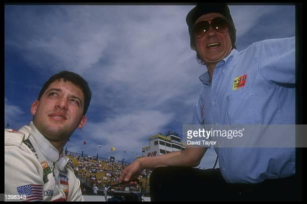 Tony Stewart and John Menard enjoying the DuraLube 200 Indy Racing League at the Phoenix International Raceway in Phoenix Arizona