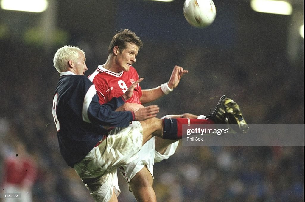 Billy McKinlay of Scotland and P. Moller of Denmark in action during the Friendly International at Ibrox in Glasgow, Scotland. Denmark won 1-0. \ Mandatory Credit: Phil Cole /Allsport