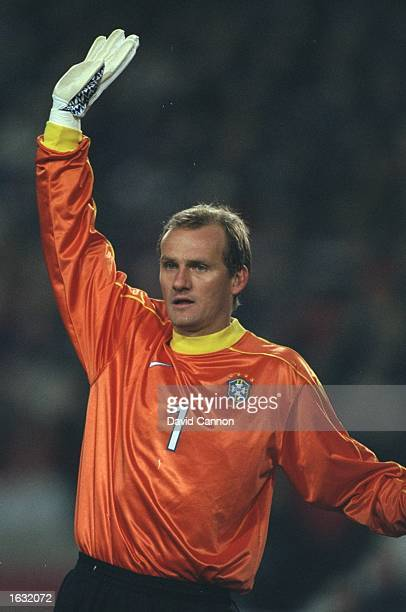 Brazil's goalkeeper Claudio Taffarel signals his orders during the Germany v Brazil friendly played in Stuttgart Germany Brazil won the match 21...