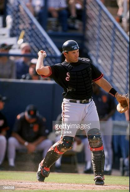 Catcher Doug Mirabelli of the San Francisco Giants in action during a spring training game against the Anaheim Angels at the Tempe Diablo Stadium in...