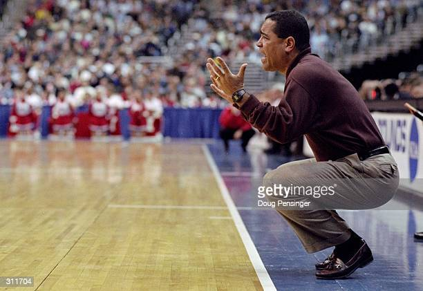 Coach Kelvin Sampson of the Oklahoma Sooners looks on during an NCAA Tournament game against the Indiana Hoosiers at the MCI Center in Washington DC...