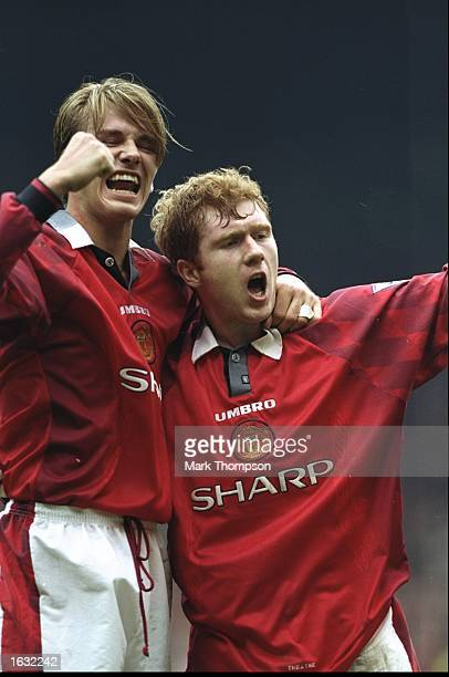 David Beckham and Paul Scholes of Manchester United celebrate during the FA Carling Premiership match against Wimbledon at Old Trafford in Manchester...