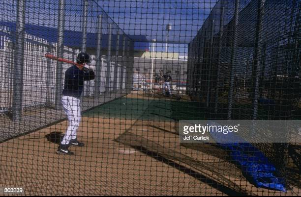 General view of a batting cage during a spring training game between the Oakland Athletics and the Milwaukee Brewers at the Maryvale Baseball Park in...