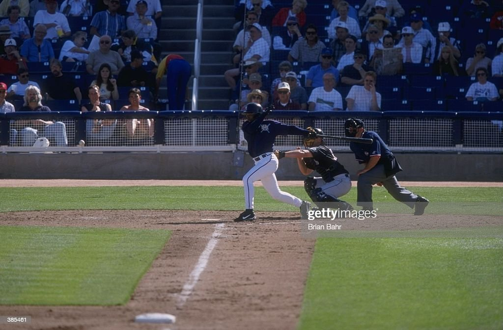 General view of a spring training game between the Colorado Rockies and the Milwaukee Brewers at the Maryvale Baseball Park in Maryvale Arizona The...