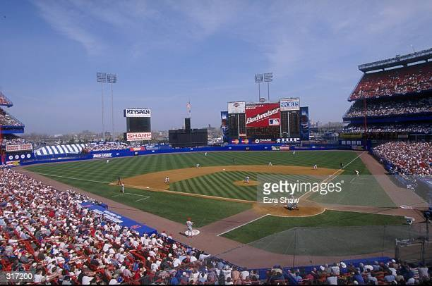 General view of Shea Stadium during an opening day game between the Philadelphia Phillies and the New York Mets in Flushing New York The Mets...