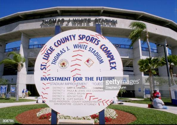 General view of the St Lucie County Stadium where a spring training game between the Los Angeles Dodgers and the New York Mets is being played in...