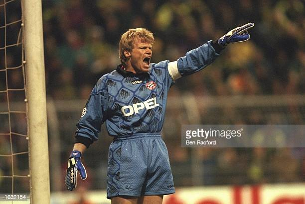 Goalkeeper Oliver Kahn of Bayern Munich shouts some orders during the match between Borussia Dortmund and Bayern Munich in the European Champions...