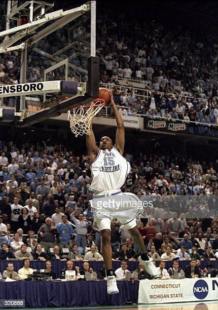 Guard Vince Carter of the North Carolina Tar Heels in action during an NCAA Tournament game against the Connecticut Huskies at the Greensboro...
