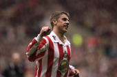 Kevin Phillips of Sunderland celebrates scoring a goal during a game between Sunderland and Portsmouth in the Nationwide Division 1 match played at...