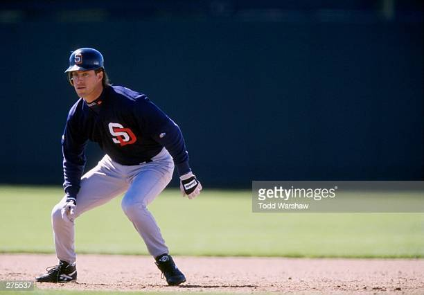 Steve Finley of the San Diego Padres in action during a spring training game against the Colorado Rockies at Hi Corbett Field in Tucson Arizona The...