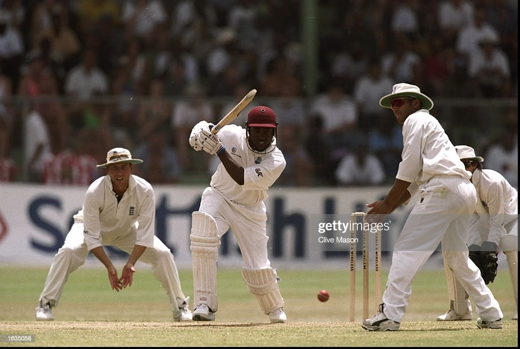 West Indies Captain Brian Lara in action during the Fifth Test match against England at the Kensington Oval in Bridgetown Barbados The match ended in...