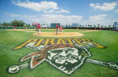A general view of the of the Pittsburgh Pirates logo painted on the field during the Spring Training game against the Philadelphia Phillies at the...