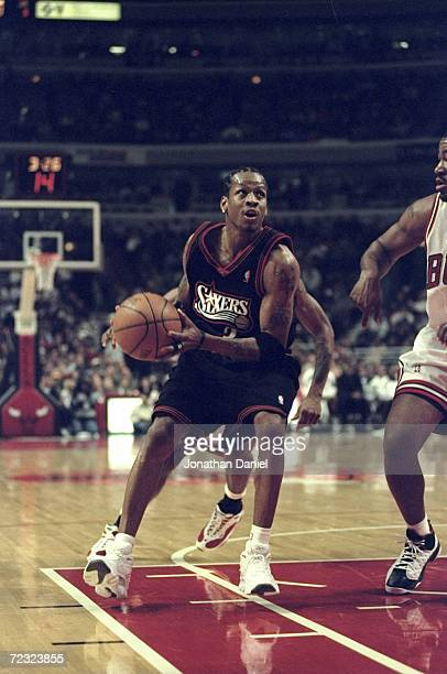 Allen Iverson of the Philadelphia 76ers taking the ball to the basket during the game against the Chicago Bulls at the United Center in Chicago...