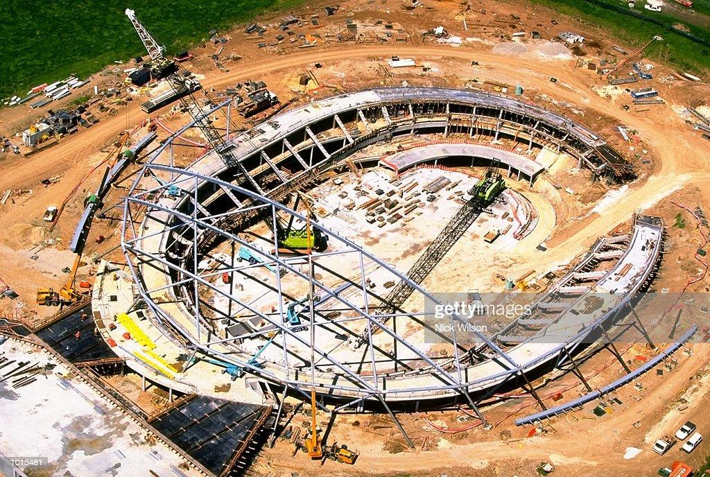 An aerial view of the Cycling Velodrome still under construction at the Sydney 2000 Olympics site, Homebush, Sydney, Australia. \ Mandatory Credit: Nick Wilson /Allsport