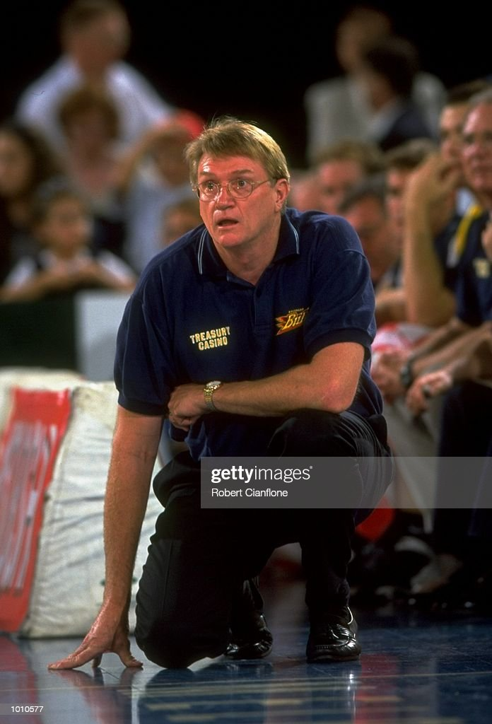 Brian Kerle the Coach of the Brisbane Bullets watches his team's progress against the Melbourne Tigers, during the 1999 NBL game at the Melbourne Sports & Aquatic Centre, Albert Park, Melbourne, Australia. \ Mandatory Credit: Robert Cianflone /Allsport