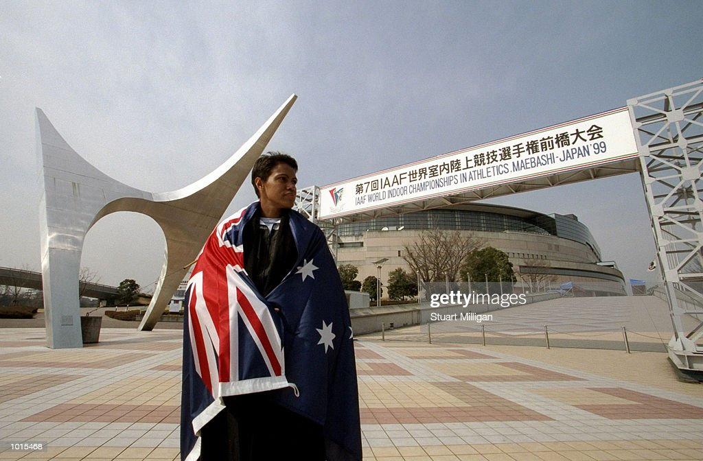 Cathy Freeman with the Australian flag outside the Green Dome Stadium prior to the 7th World Indoor Athletics Championships in Maebashi, Japan. \ Mandatory Credit: Stuart Milligan /Allsport