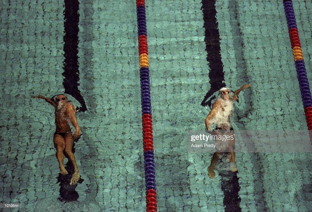 Close action during the Mens 50m Backstroke at the 1999 Australian Open Championships and Pan Pacific Selection Trials from the Chandler Aquatic Centre, Brisbane, Australia. \ Mandatory Credit: Adam Pretty /Allsport