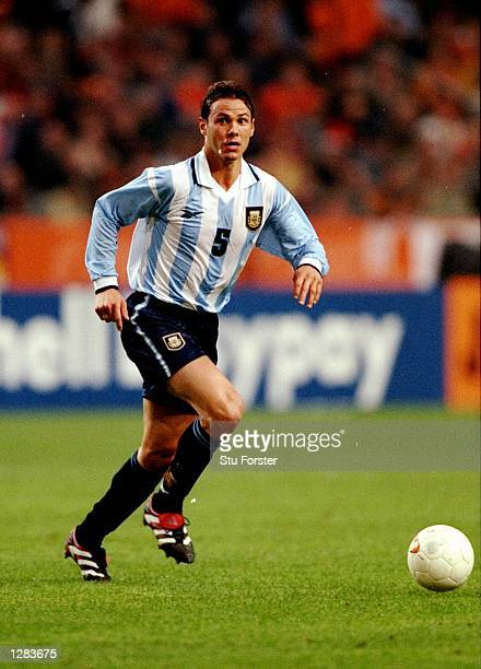 Fernando Redondo of Argentina looks up against Holland in the International Friendly at the Amsterdam ArenA in Holland The game ended 11 Mandatory...