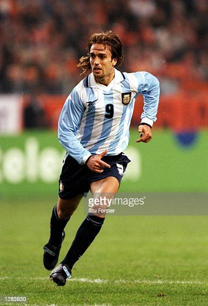 Gabriel Batistuta of Argentina starts a run against Holland in the International Friendly at the Amsterdam ArenA in Holland The game ended 11...