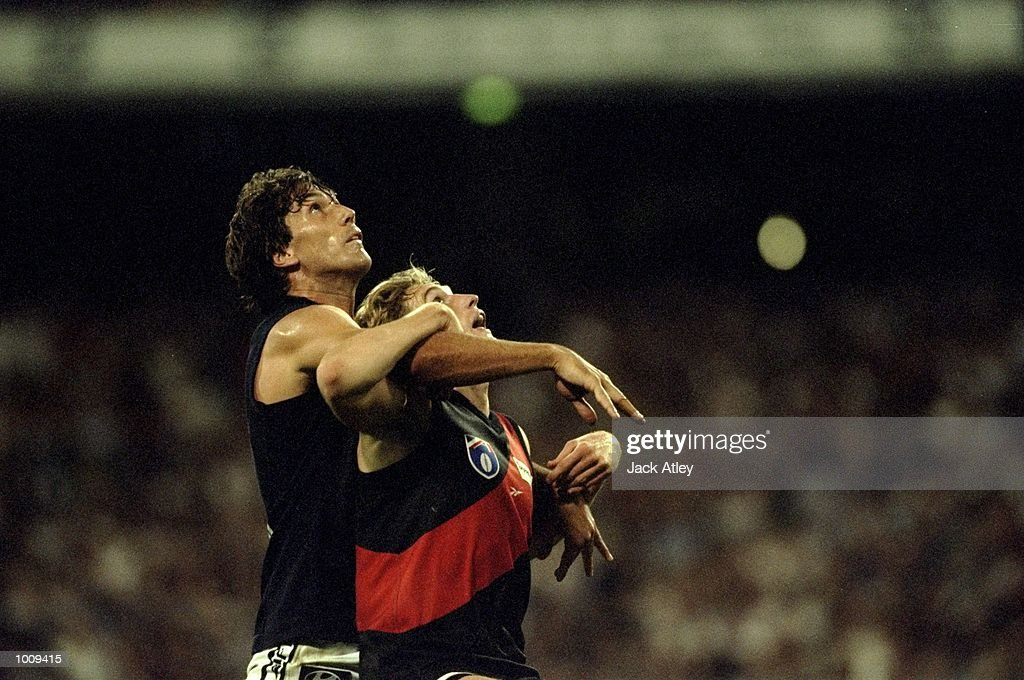 James Hird of Essendon challenges Stephen Silvagni of Charlton during Round 1 of the AFL Football match against Charlton played at the MCG in Melbourne, Australia. \ Mandatory Credit: Jack Atley /Allsport
