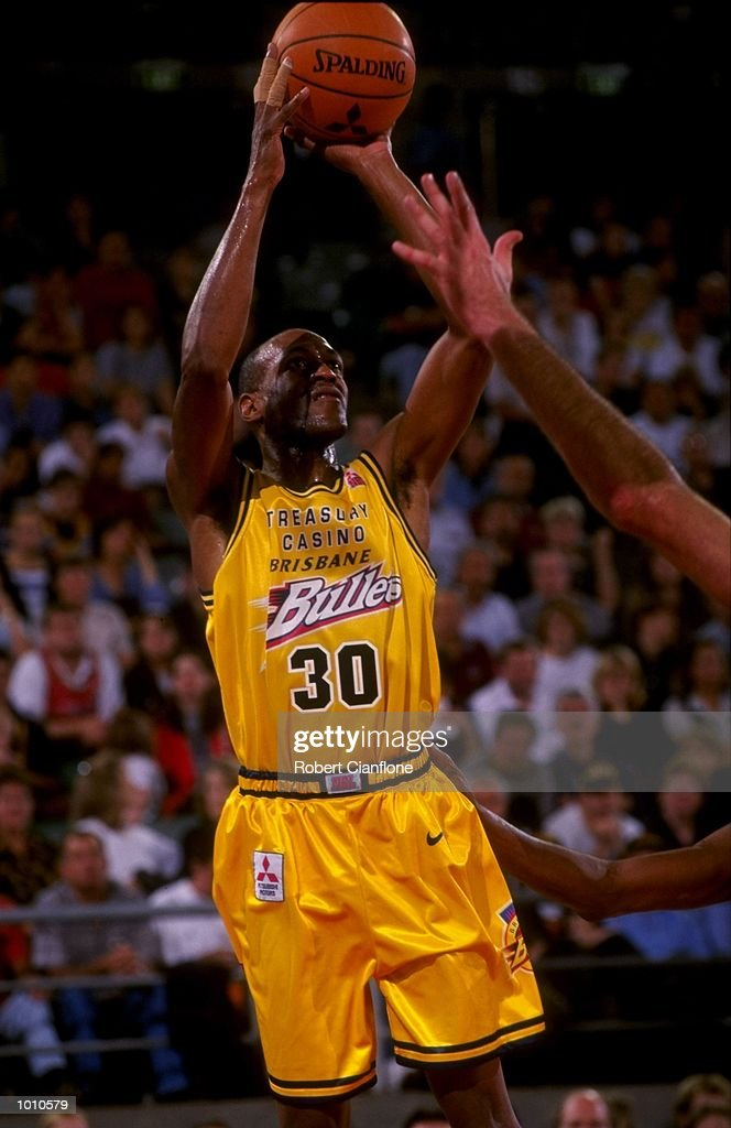 Leroy Loggins of the Brisbane Bullets in action against the Melbourne Tigers, during the 1999 NBL game at the Melbourne Sports & Aquatic Centre, Albert Park, Melbourne, Australia. \ Mandatory Credit: Robert Cianflone /Allsport