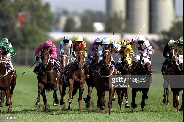 Mark De Montford on Catbird wins the Golden Slipper during the 1999 Golden Slipper Carnival from the Rosehill Racecourse Sydney Australia Mandatory...
