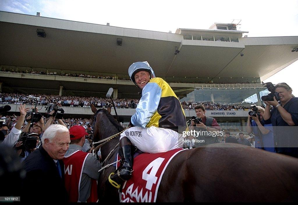 Mark De Montfort on Catbird returns to scale after winning the Golden Slipper during the 1999 Golden Slipper Carnival from the Rosehill Racecourse, Sydney, Australia. \ Mandatory Credit: Nick Wilson /Allsport