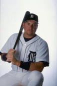 Outfielder Karim Garcia of the Detroit Tigers poses for a studio portrait on Photo Day during Spring Training at the Joker Merchant Stadium in...