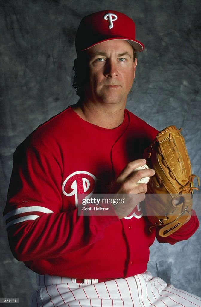 Pitcher Jeff Brantley of the Philadelphia Phillies poses for a studio portrait on Photo Day during Spring Training at the Jack Russell Stadium in...