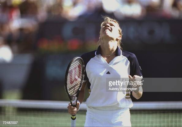 Steffi Graf/Ger celebrates during the Evert Cup at the Hyatt Grand Championship Resort in Indian Wells California Mandatory Credit Aubrey Washington...