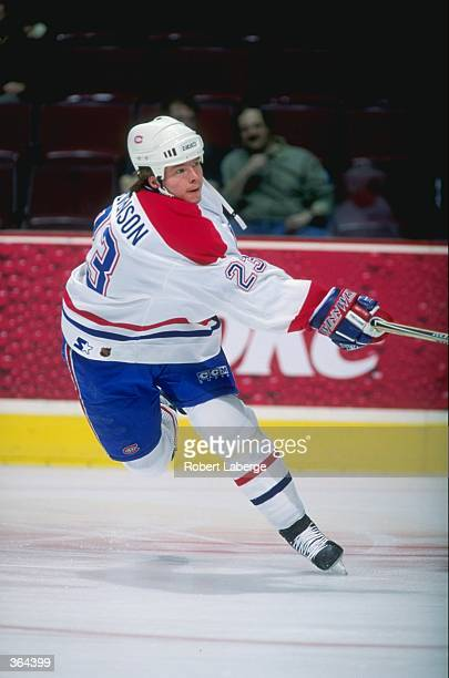 Turner Stevenson of the Montreal Canadiens shoots the puck during the game against the Florida Panthers at the Molson Centre in Montreal Canada The...