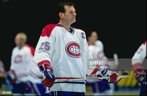 Vincent Damphousse of the Montreal Canadiens looks on during the game against the Florida Panthers at the Molson Centre in Montreal Canada The...