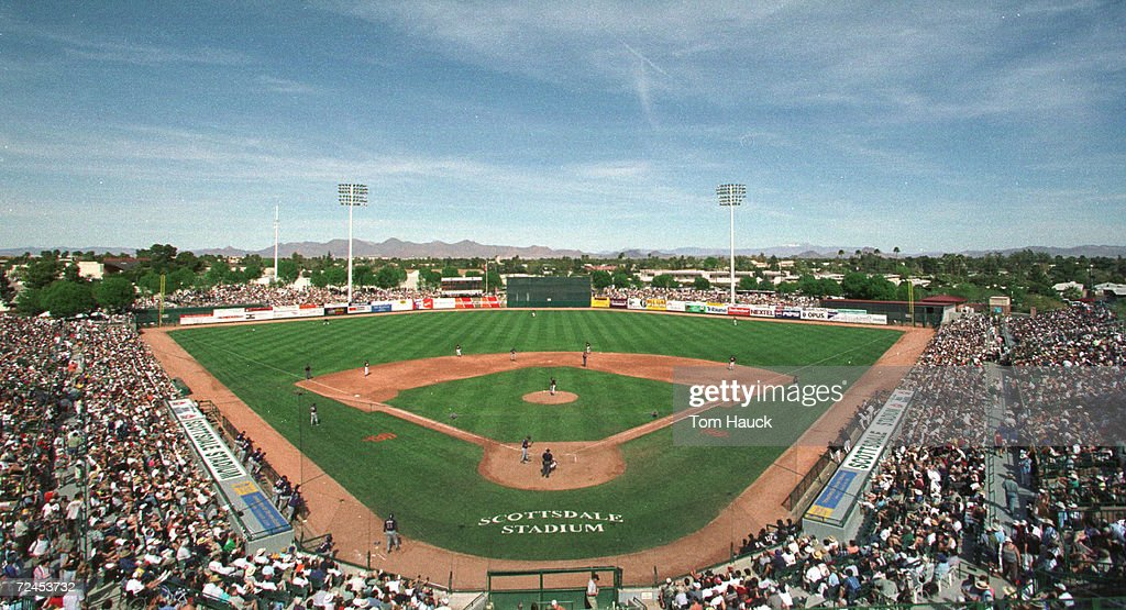 A general view of Scottsdale Stadium during a spring training game between the Arizona Diamondbacks and the San Francisco Giants in Scottsdale...